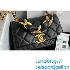 Chanel Shiny Lambskin Entwined Chain Small Flap Bag AS2387 Black 2021