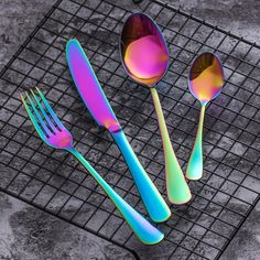 SideRainbow™ - Premium Stainless Steel Rainbow Silverware Set