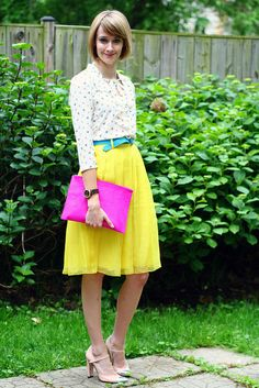 Creative dressers love fun flowy skirts in bright colors like this sunshiny skirt from District of Chic!