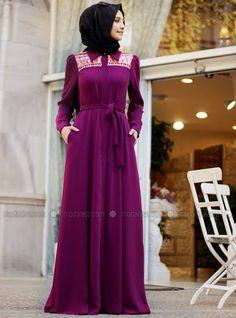 Sequined Dress / Abaya - Purple - Gamze Polat