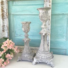 Ornate Shabby Chic Candle Holders painted in a trendy soft grey with white in a concrete texture with great choppiness for something truly unique and wonderful for home or wedding decor. This grey is
