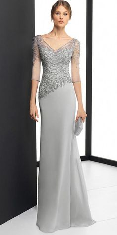 DressilyMe Bridal Dresses Online,Wedding Dresses Ball Gown, delicate chiffon v neck neckline 3 4 length sleeves sheath column evening dress with beaded embroidery Mother Of Groom Dresses, Mothers Dresses, Long Mothers Dress, Mother Of The Bride Gown, Robes Glamour, Embroidery Dress, Beaded Embroidery, Nice Dresses, Formal Dresses