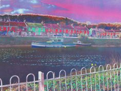 River and boats. 'Altered' photograph which has been digitally printed onto fabric using textile inks then hand embroidered. Mixed Media Art, Printing On Fabric, Boats, Photographs, River, Digital, Printed, Painting, Fabric Printing