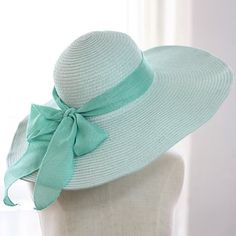 Pretty Edwardain inspired tea hat. Bowknot Lace Up Embellished Wide Brim Straw Hat For Women  AT vintagedancer.com