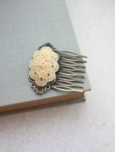 Ivory Floral Hair Comb. Ivory Flower Wedding Comb. by Marolsha