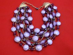 Gorgeous purple and lavender 9 strand bead and chain by jeanmc, $22.00