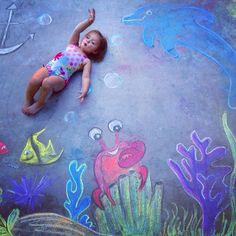 Sidewalk chalk photography! Swimming with the fishies!!