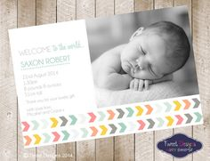***IMPORTANT INFORMATION....PLEASE READ***  PRINT YOURSELF Personalised Birth Announcement. We will edit the invitation with your babys details. The invitation will be emailed to you in JPEG format suitable for printing at a photo store or PDF format suitable for home printing or via a colour print shop. Please ensure you have the correct email address on Etsy as this is where the file will be sent to. Invitation sizes available in 6 x 4 or 5 x 7 only.  Many more themes available and if…