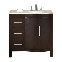 Shop Silkroad Exclusive Kimberly Dark Walnut Undermount Single Sink Bathroom Vanity with Top (Common: 36-in x 22-in; Actual: 36-in x 22-in) at Lowes.com
