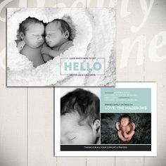 Perfect for twins! Birth Announcement Template by Beauty Divine On Etsy