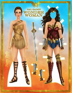 Бумажная кукла Чудо Женщины с одеждой