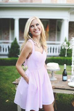 Talk about a southern gal! Lavender A-line dress + pearls.   #InstantFriends