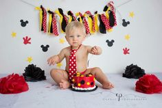 Boy cake smash. Mickey Mouse. Red, black, yellow. One year old. First Birthday. Caudle photography, Crystal Lake, IL. Caudlephotos.com