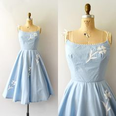 """Sweet Bee Finds (@sweetbeefinds) on Instagram: """"SOLD  1950s light blue cotton sundress w/ white flower appliqué, fitted bodice, thin strap…"""""""