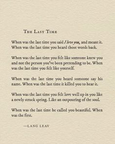 The Last Time by Lang Leav