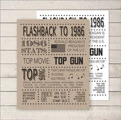 1986 Poster 30th birthday Flashback to 1986 by WhitetailDesigns
