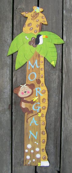 Jungle Animals Growth Chart  Giraffe  Monkey  by BirchTreeKids, $89.99