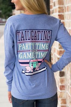 Tailgating---Party Time Before Game Time V-Neck Long Sleeve In Heather…