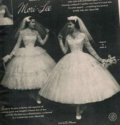 Mori-Lee 1950's bridal advertisement featuring ballerina-style wedding gowns at $50 each.