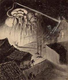 The First Illustrations of H.G. Wells' War of the Worlds: The Surreal & Horrifying Art of Henrique Alvim Corrêa (1906)