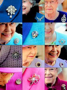 Queen Elizabeth II brooches. Source: mymrharrywales.