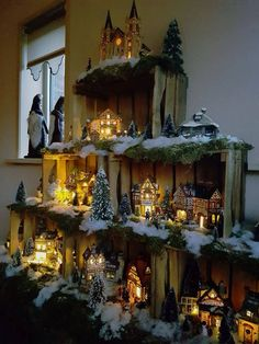 20 Ideas farmhouse christmas village display for 2019 Xmas village but with svg paper town? Wood crates used as a display case villaggio for a Christmas village Probably the two most fashionable colors for trees are the red and white. The red trees have a