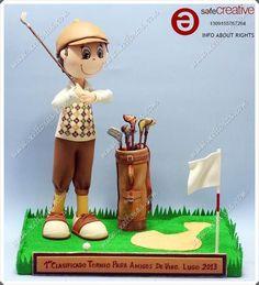 fofucho golfista con bolsa y palos de golf, todo pintado a mano