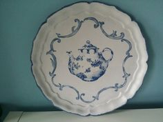 Brocante antique Italian serving tray! Upcycled decoupage blue and white teapot…