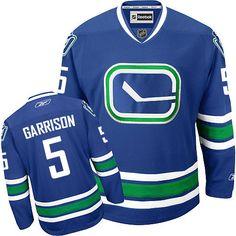 Authentic Jason Garrison Royal Blue Men s NHL Jersey   5 Vancouver Canucks  Reebok Third 19b200ab6