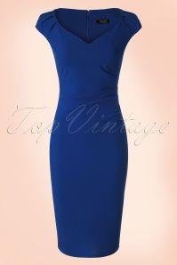 Vintage Chic - Anita Pencil Dress in Royal Blue Más Vintage Outfits, Classy Outfits, Trendy Outfits, Skirt Outfits, Dress Skirt, Bodycon Dress, Blue Dresses, Short Sleeve Dresses, Dresses For Work