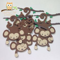 Safari Animal Cut Outs ~ Monkey ~ Jungle Animal Cardstock Die Cuts, Scrapboking Embellishment, Safari Baby Shower, Jungle Party, Blue Monkey
