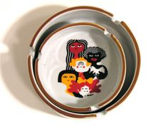 French Stoneware Ashtrays-International Year of the Child-UNESCO-1979-Set of 2 Vintage Ashtrays-Made in France-Home Decor