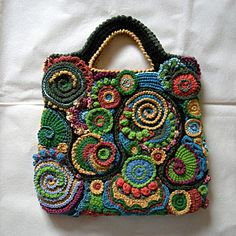 Free form crochet Bag - Picture only Art Au Crochet, Bag Crochet, Crochet Shell Stitch, Crochet Gratis, Freeform Crochet, Crochet Handbags, Crochet Purses, Love Crochet, Irish Crochet