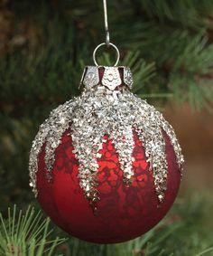 Love this Red Glitter Ornament - Set of Three on #zulily! #zulilyfinds