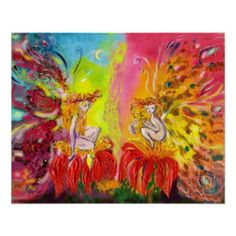 FAIRIES OF DAWN ,Whimsical ,colorful ,vibrant enchanted fairy woods in the moon light .Acrylic -watercolor painting with gold sparkles,golden foil and iridescent colors