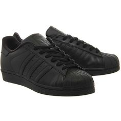 Superstar 1 Trainers by Adidas Supplied by Office ($97) ❤ liked on Polyvore featuring shoes, sneakers, striped sneakers, black leather trainers, topshop sneakers, black leather shoes and genuine leather shoes