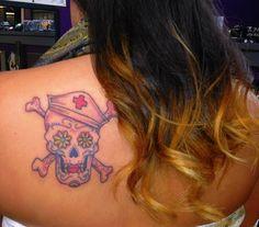 Beautiful tattoo and ombré hair  #tattoo #sugarskull #nurse #ombre