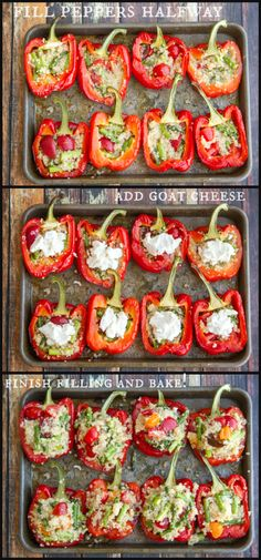 peppers stuffed with lemon quinoa, asparagus, cherry tomatoes  a hidden goat cheese surprise! Good for you and really delicious!