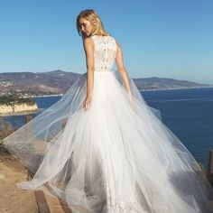 Laced back on a crepe fitted gown with a tulle overskirt. Amsale Bridal, Bridal Gowns, Wedding Dresses Photos, Designer Wedding Dresses, Strictly Weddings, Bridal Salon, Wedding Suits, Dream Dress, Bridal Style