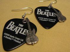 Black and White Beatles Guitar Pick Earrings by TheBirdsBizarre, $13.50
