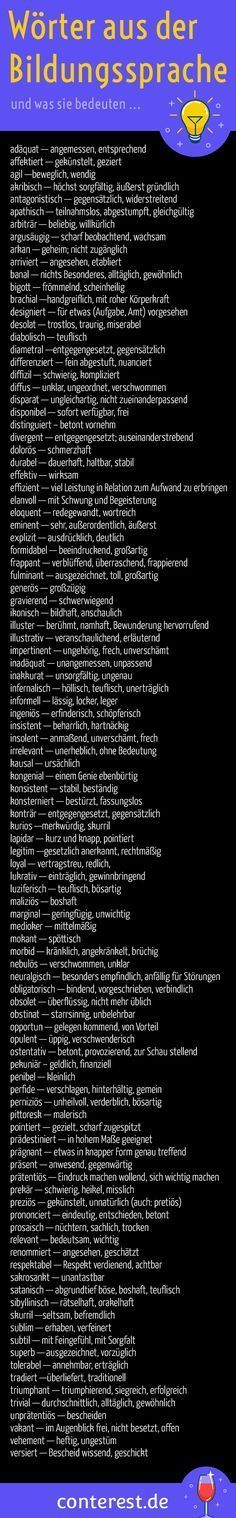 125 Adjektive aus der Bildungssprache für klügere Texte 99 words from the language of education and what they mean. For more exciting texts. Likes Facebook, German Grammar, German Language Learning, Learn German, Study Tips, Marketing, Writing Prompts, Good To Know, Vocabulary