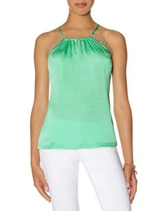 Mint Satin Trimmed Halter Cami from THELIMITED.com $25