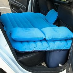 Pentop Inflatable Car Air Mattress for a nice rest in your back seat. Comes with a car pump to make inflating quick and easy.  Pentop Flocking Fabric Car / SUV  Back Seat Air Bed Mattress in Blue with inflatable pillows.