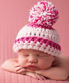 Look what I found on #zulily! White & Pink Stripe Crochet Pom-Pom Beanie by Melondipity #zulilyfinds