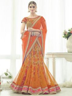 Orange Color #Wedding Wear Heavy Work #Designer #Lehenga #Choli #Dupatta