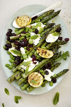 Grilled Asparagus, Broad Bean and Mozzarella Salad