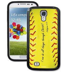 Philippians 4:13 Sofball Galaxy S4 Case - Galaxy S4 TrueCase - Galaxy Cases