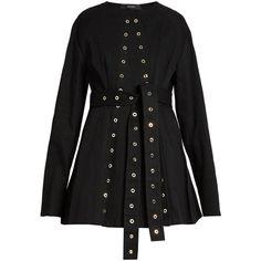 Ellery Femme eyelet-embellished denim jacket ($2,490) ❤ liked on Polyvore featuring outerwear, jackets, denim jacket, embellished jean jacket, embellished denim jacket, embellished jackets and collarless denim jacket