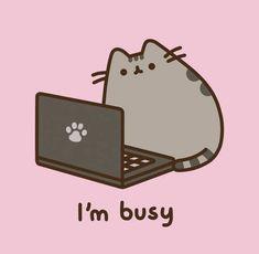 Pusheen at computer wallpaper! Cat Wallpaper, Kawaii Wallpaper, Cute Wallpaper Backgrounds, Computer Wallpaper, Gato Pusheen, Pusheen Love, Kawaii Drawings, Cute Drawings, Pushing Cat