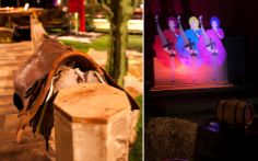 Uma sela de cavalo e um display com bailarinas dão o clima do Velho Oeste